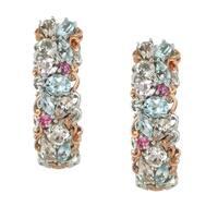 Michael Valitutti Palladium Silver Aquamarine & Morganite Multi Gemstone Earrings