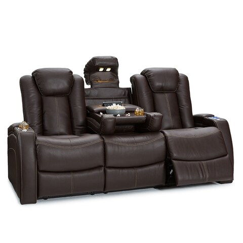 Seatcraft Omega Leather Gel Home Theater Seating Power Recline Sofa with Fold Down Table, Brown