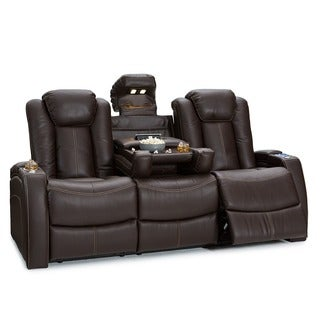 Lane Omega Leather Gel Home Theater Seating Power Recline - Sofa w/ Fold Down Table, Brown
