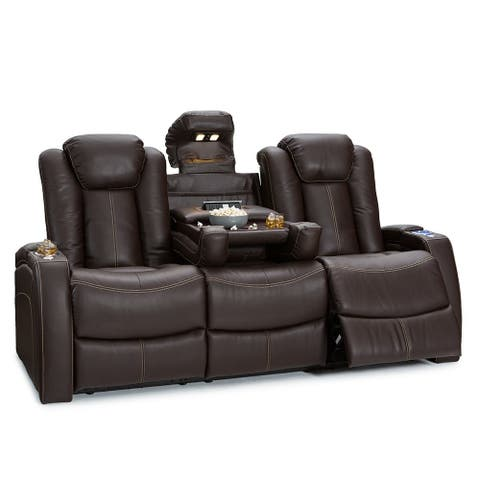 Seatcraft Omega Leather Gel Home Theater Seating Power Recline Sofa with Fold-Down Table and Cup Holders, Brown