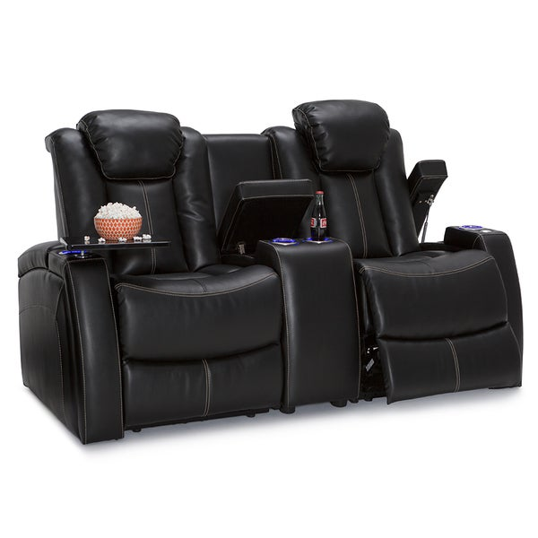 Lane Omega Home Theater Seating Black Leather Gel Power