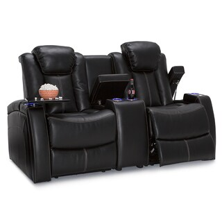 Seatcraft Omega Home Theater Seating Leather Gel Power Recline Loveseat with Center Storage Console, Black