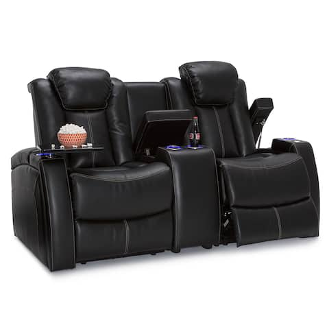 Seatcraft Omega Leather Gel Home Theater Seating Power Recline Loveseat with Center Storage Console and Cup Holders, Black
