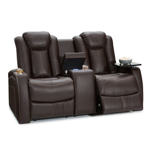 Seatcraft Omega Leather Gel Home Theater Seating Power Recline Loveseat with Center Storage Console and Cup Holders, Brown