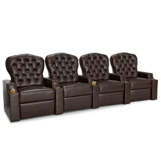 Seatcraft Imperial Leather Home Theater Seating Power Recline with Tufted Backrests and Cupholders Brown Row of 4