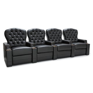 Seatcraft Imperial Leather Home Theater Seating Power Recline - Row of 4, Black