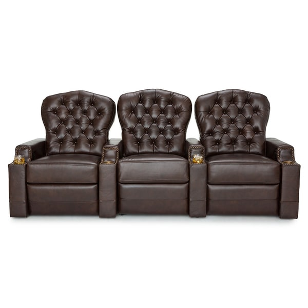 Seatcraft Imperial Leather Home Theater Seating Recline With Tufted Backrests And Cupholders Brown Row Of