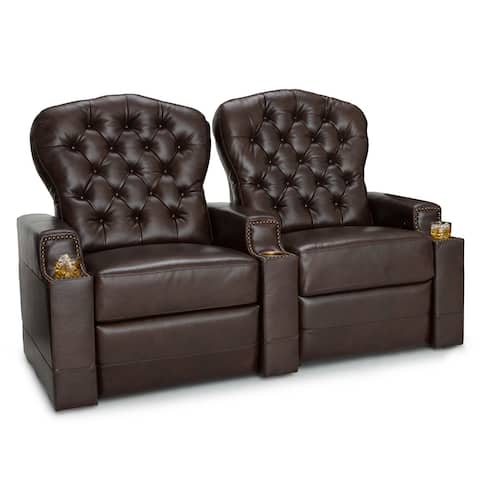 Seatcraft Imperial Leather Home Theater Seating Power Recline with Tufted Backrests and Cupholders Brown Row of 2