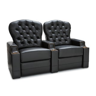 Seatcraft Imperial Leather Home Theater Seating Power Recline with Tufted Backrests and Cupholders Black Row of 2