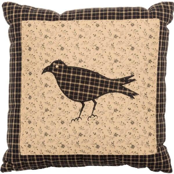 Black Primitive Bedding VHC Kettle Grove Crow 10x10 Pillow Cotton Nature Print Appliqued