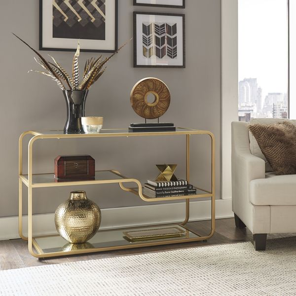 Giana Champagne Gold Mirrored Shelves Sofa Entryway Table by