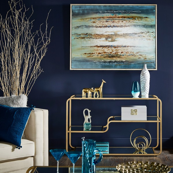 Giana Champagne Gold Mirrored Shelves Sofa Entryway Table by iNSPIRE Q Bold