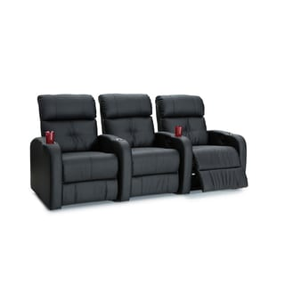 Palliser Terra Black Polyurethane Manual-recline 3-seat Home Theater Seating Row