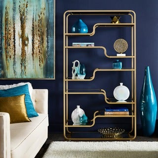 Giana Champagne Gold Mirrored Shelves Bookcase by INSPIRE Q