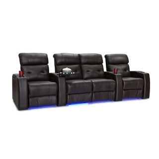 Palliser Mirage Leather Home Theater Seating Power Recline - Row of 4 w/ Loveseat, Brown