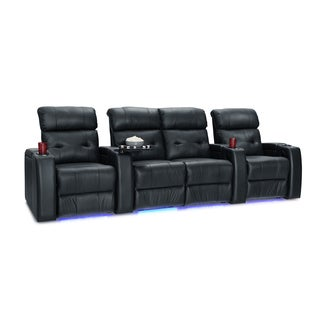 Palliser Mirage Leather Home Theater Seating Power Recline - Row of 4 w/ Loveseat, Black