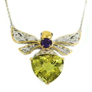 Michael Valitutti Palladium Silver Ouro Verde & Multi Gemstone Bee Pendant