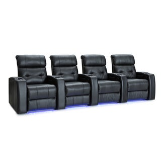 Palliser Mirage Leather Home Theater Seating Power Recline - Row of 4, Black