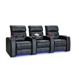 Palliser Mirage Leather Home Theater Seating Power Recline - Row of 3, Black