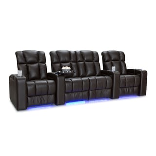 Palliser Collingwood Leather Home Theater Seating Power Recline - Row of 4 w/ Loveseat, Brown