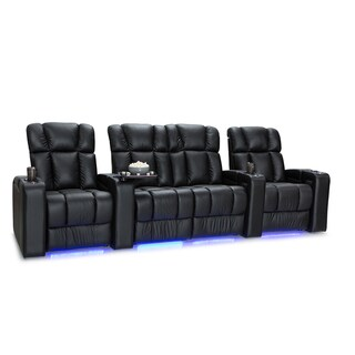Palliser Collingwood Leather Home Theater Seating Power Recline - Row of 4 w/ Loveseat, Black