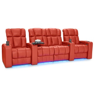 Palliser Collingwood Leather Home Theater Seating Power Recline - Row of 4 w/ Loveseat, Red