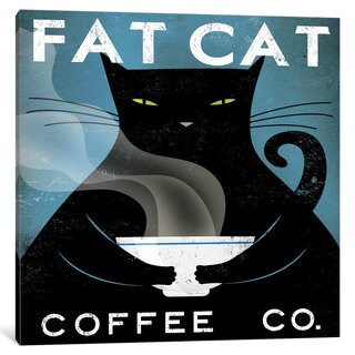 iCanvas Fat Cat Coffee Co. by Ryan Fowler Canvas Print
