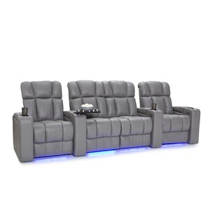 Palliser Collingwood Leather Home Theater Seating Power Recline - Row of 4 w/ Loveseat, Grey