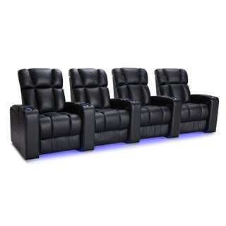 Palliser Collingwood Leather Home Theater Seating Power Recline - Row of 4, Black