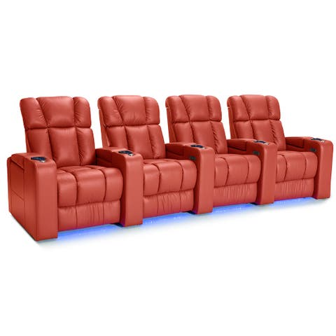 Palliser Collingwood Leather Home Theater Seating Power Recline - Row of 4, Red
