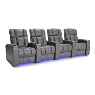 Palliser Collingwood Leather Home Theater Seating Power Recline - Row of 4, Grey