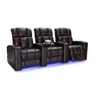 Palliser Collingwood Leather Home Theater Seating Power Recline - Row of 3, Brown