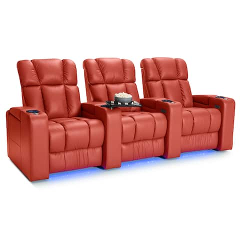Palliser Collingwood Leather Home Theater Seating Power Recline - Row of 3, Red