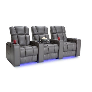 Palliser Collingwood Leather Home Theater Seating Power Recline - Row of 3, Grey
