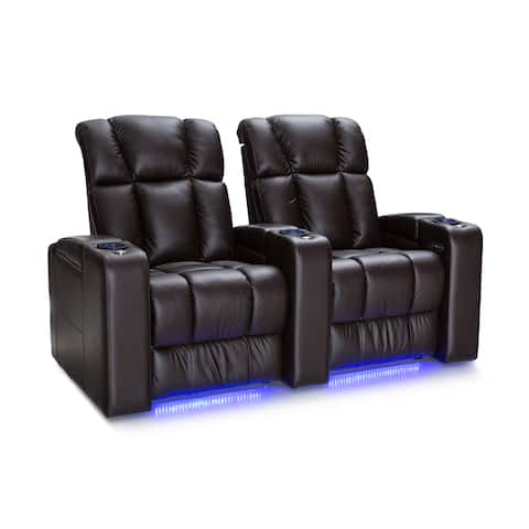 Palliser Collingwood Leather Home Theater Seating Power Recline - Row of 2, Brown