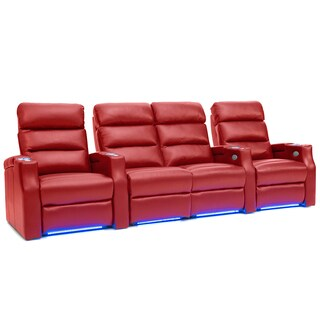 Barcalounger Matrix Leather Home Theater Seating Power Recline - Row of 4 w/ Loveseat, Red