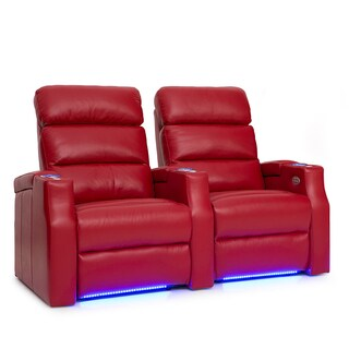 Barcalounger Matrix Leather Home Theater Seating Power Recline - Row of 2, Red