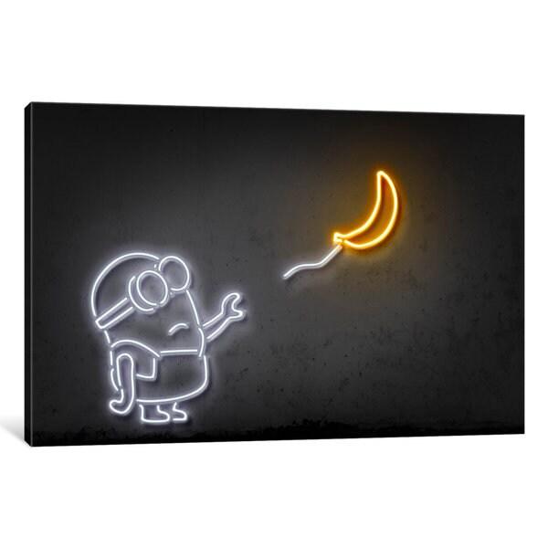 iCanvas 'Neon Luminosity Series: Minion With A Balloon' by Octavian Mielu Canvas Print