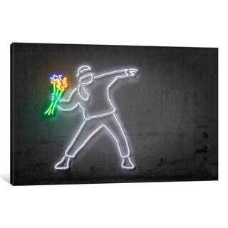 iCanvas 'Neon Luminosity Series: Rage, Flower Thrower' by Octavian Mielu Canvas Print