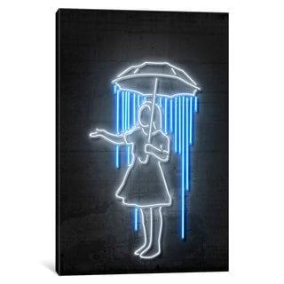 iCanvas 'Neon Luminosity Series: Nola Girl With Umbrella' by Octavian Mielu Canvas Print