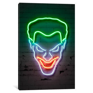 iCanvas Neon Luminosity Series: Joker Portrait by Octavian Mielu Canvas Print