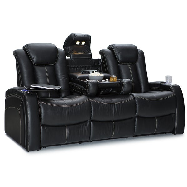 Seatcraft Republic Leather Home Theater Seating Recline Sofa With Fold Down Table And Cup Holders