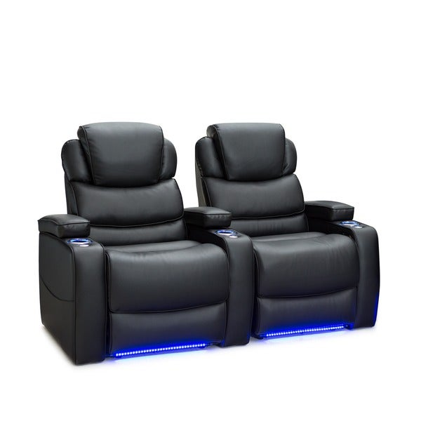 Barcalounger Columbia Leather Gel Home Theater Seating Power Recline   Row  Of 2, Black