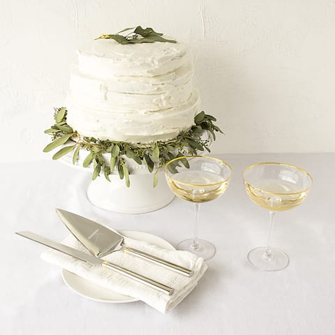 Personalized Gold Coupe Flutes & Cake Serving Set