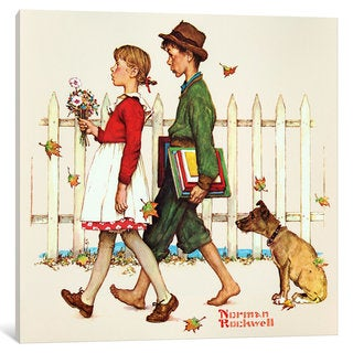 iCanvas Young Love: Walking to School by Norman Rockwell Canvas Print