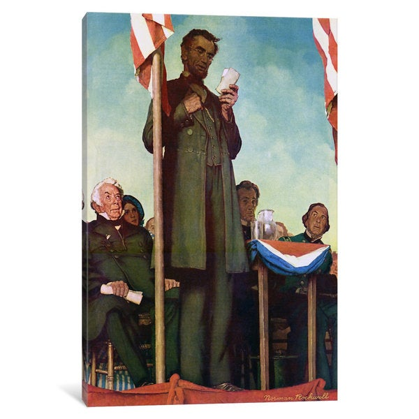 iCanvas 'Abraham Lincoln Delivering the Gettysburg Address' by Norman Rockwell Canvas Print