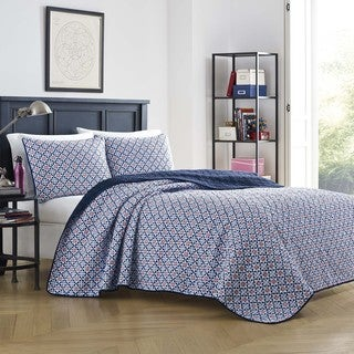 Poppy & Fritz Becca Navy Cotton Reversible Quilt Set