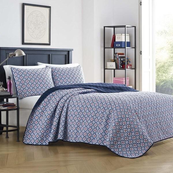 Poppy & Fritz Becca Navy Cotton Reversible 3-piece Quilt Set