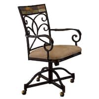 Hillsdale Furniture Pompeii Caster Dining Chairs Set of 2 in Black Gold/Slate Mosaic Finish