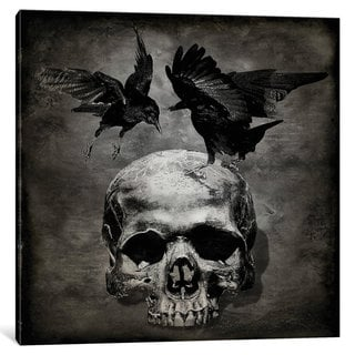 iCanvas 'Skull With Crows' by Martin Wagner Canvas Print